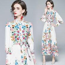 Zuoman женское осеннее элегантное платье с цветочным рисунком