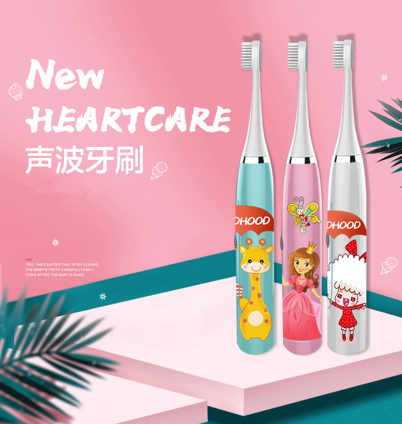 W9 Kids Electric Toothbrush Cartoon Pattern Double-sided Waterproof Tooth Brush Oral Cleaning For Kids