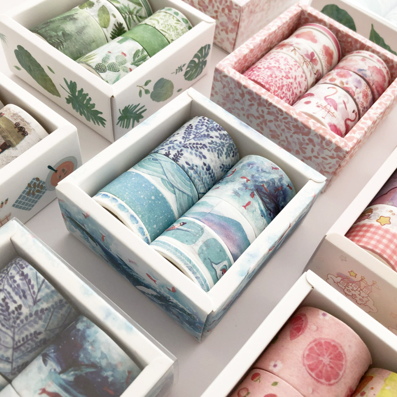 8 Pcs/Set Washi Tape Cactus Masking Tape Flamingo Cinta Adhesiva Decorativa Kawaii Washitape Stationery Papelaria