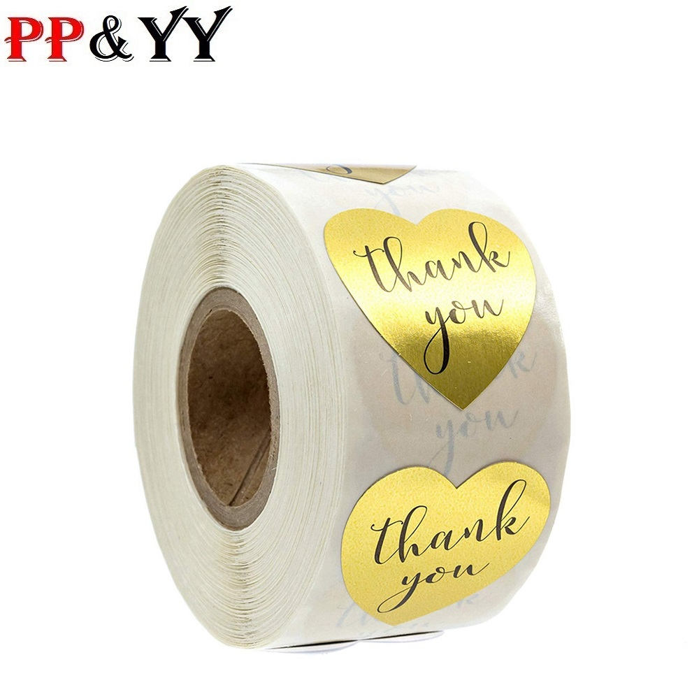 Heart Shape Gold Thank You Stickers Seal Labels 500 Labels Stickers Scrapbooking For Package Stationery Sticker 1inch/roll