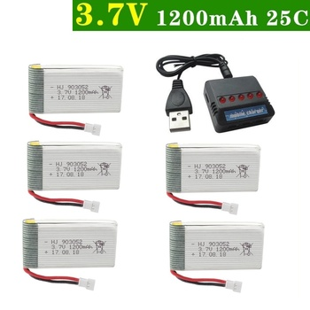 6Pcs/Set Original 3.7v 1200mAh with Charger Units for SYMA X5 X5C X5SC X5SH X5SW Drone Quodcopter Spare lipo Battey Parts 3.7 v image