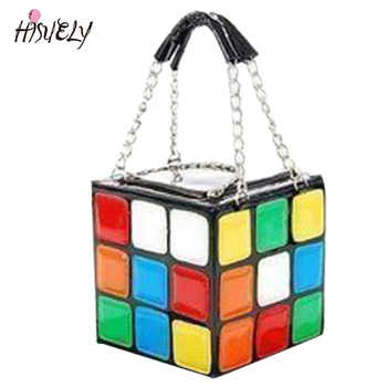 2020 limitada bolsa feminina romance colorido cubo mágico saco bonito bolsa do plutônio maquiagem bolsa bolsa saco de ombro bolsa de ombro