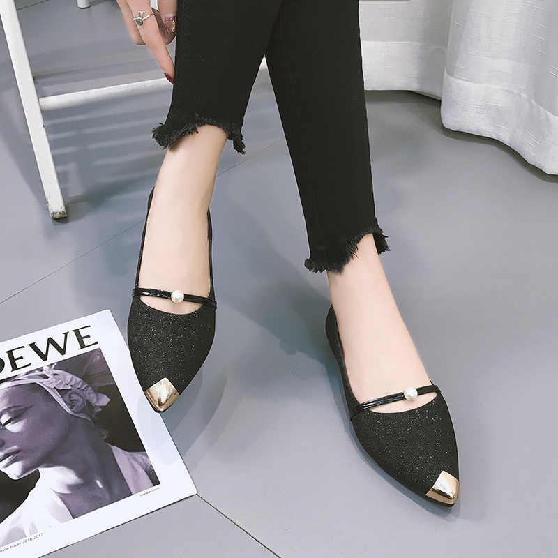 Moda Bling Flats ayakkabı kadın sivri burun rahat yumuşak bayanlar tekne ayakkabı yaz düz inci rahat ayakkabı Zapatos De Mujer