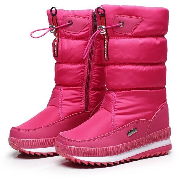 Женские зимние ботинки; зимние ботинки на платформе; водонепроницаемые Нескользящие ботинки с толстым плюшем; модная женская зимняя обувь; теплые меховые ботинки; botas mujer - Цвет: Розовый