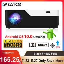 WZATCO M18 1920x1080P Android 10.0 WIFI AC3 4K 200inch Full HD 1080P LED Máy Chiếu video Proyector cho Rạp Hát Tại Nhà 5500lumen