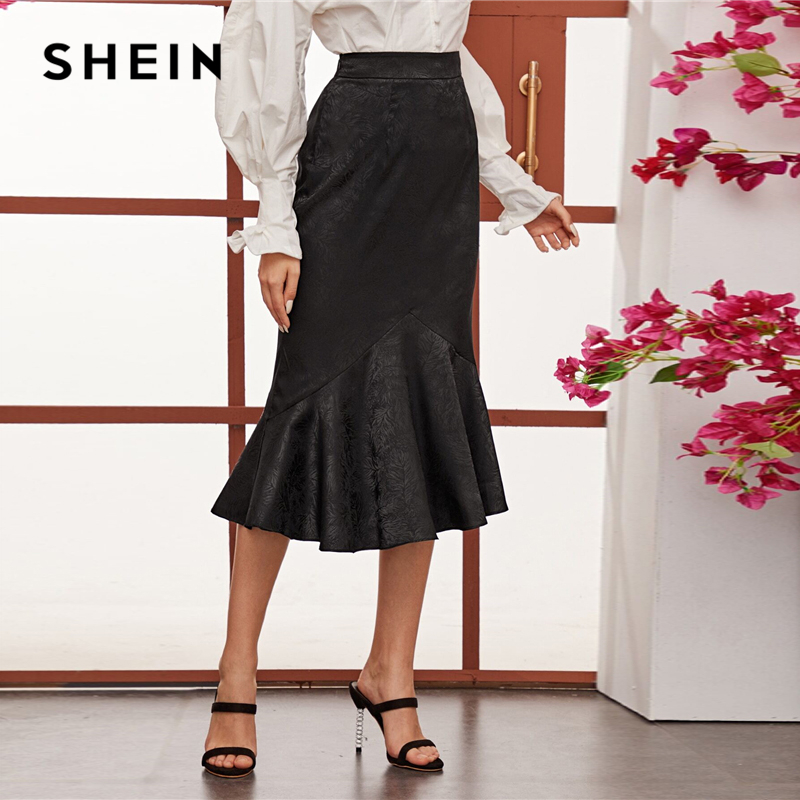 SHEIN Black High Waist Jacquard Mermaid Long Skirts Womens Spring Summer Ruffle Hem Party Elegant Bodycon Glamorous Skirt 2