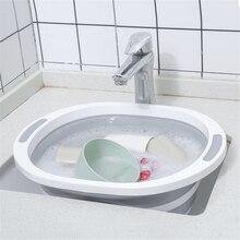 Multifunctional Kitchen Chopping Blocks Collapsible Silicone Cutting Board Foldable Basin Tub for Vegetable Fruit Washing Basket