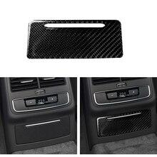 Auto Styling Koolstofvezel Armsteun Achter Luchtuitlaat Frame Trim Voor Audi A4 B9 2016-2018 Asbak Panel interieur Accessoires