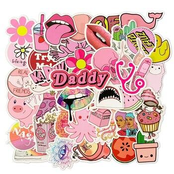 50PCS Pink Cute Cartoon buzzwords Stickers Waterproof Refrigerator Skateboard Decoration Mixed Decals For Samsung Laptop Sticker 1