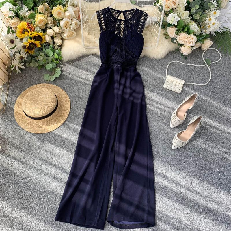 Elegant High Waist Hip Wide Leg Patchwork Lace Hollow Out Sleeveless Jumpsuit 7