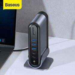 Baseus USB C HUB tipo C a Multi HDMI USB 3,0 con adaptador de corriente estación de acoplamiento para MacBook Pro RJ45 USB OTG puertos USB HUB