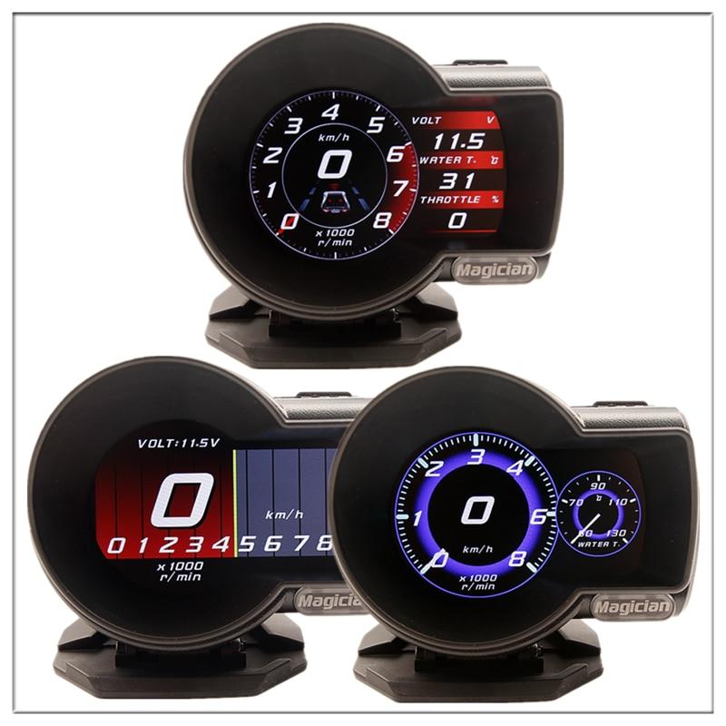 Profissão Mágico Cabeça Up Display OBD Car Digital Tensão de Calibre do Impulso Medidor de Velocidade ect. Alarme de Temperatura Da água Auto Ferramenta de Diagnóstico