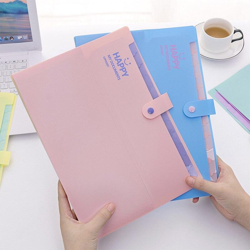 A4 Korean Lovely Smiling Face Folder Multi Layer Accordion Bag Storage Information Bag Test 12 Grid Paper Bag