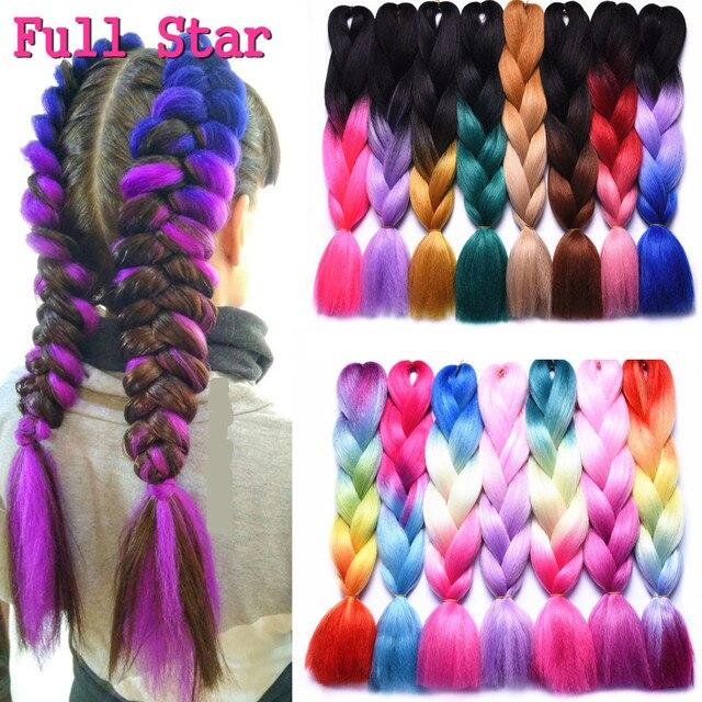 1pack Long Ombre Jumbo Synthetic Braiding Hair Full Star Crochet Blonde Pink Blue Grey Hair Extensions Jumbo Crochet Braids