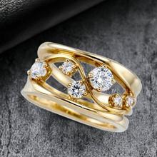 Frauen Metall Zirkon Intarsien Ring Elegante Geometrische Welle Form Reif Schmuck Geschenk