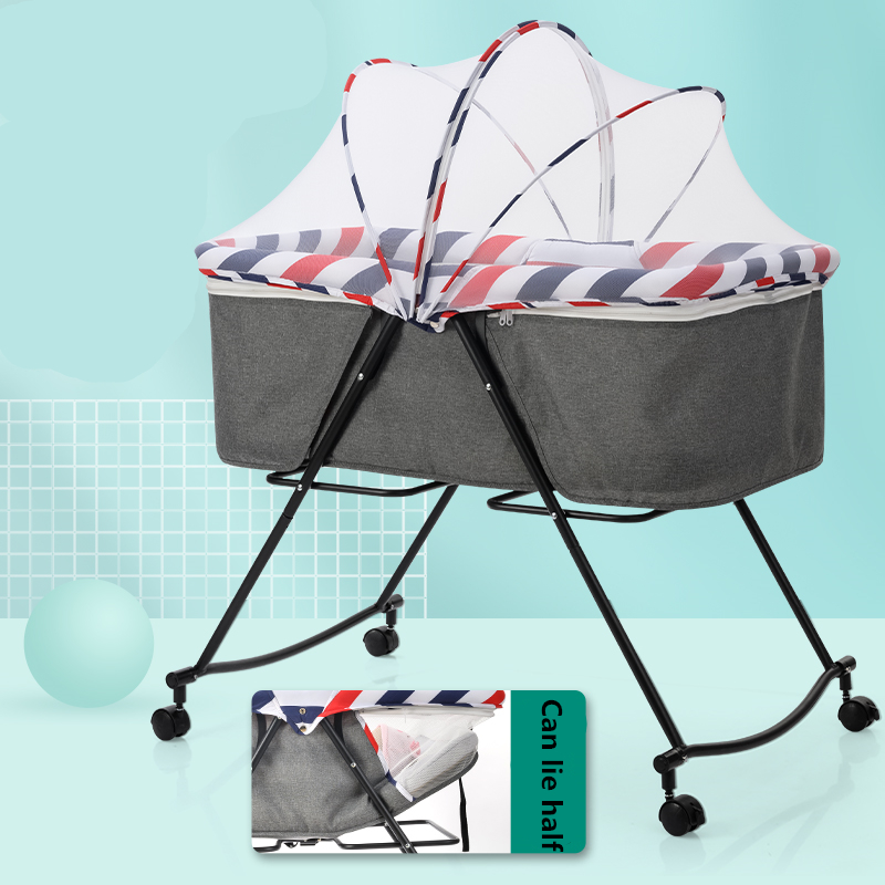 Baby Bed Foldable Portable Baby Cooter Bed Multifunctional Newborn Cradle Bed Comfort Baby Bed With Roller