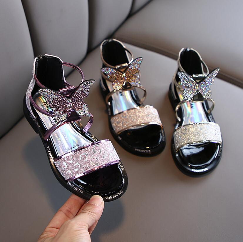Little Girls Gladiator Sandals Boots Leather Summer Butterfly High-top  Roman Kid Sandals Toddler Baby Princess Sandals