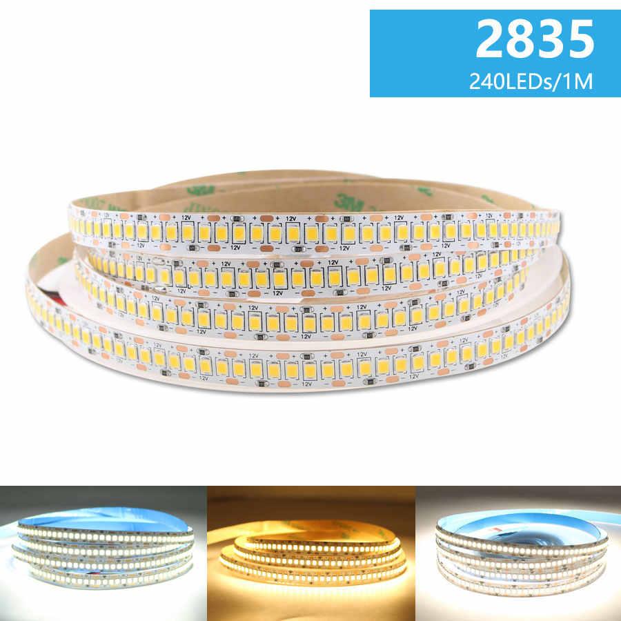 12V Lampu LED Strip 2835 5M Putih Hangat Alam 300 600 1200 LED AC 12V DC Strip lampu Tahan Air Dapur Dekorasi Rumah TV Backlight