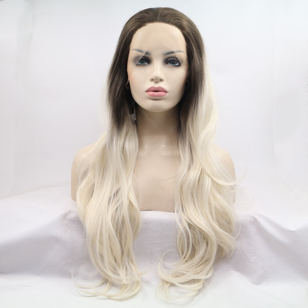 Sylvia Synthetic Lace Front Wig For Women Natural Wave Hair Ombre Blonde Glueless Wig Middle Part Cosplay Wig Heat Resistant