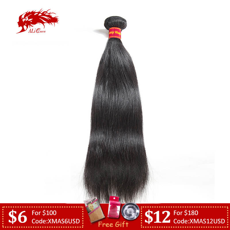 Brazilian Straight Human Hair Weaves Bundles 1/3/4 Pcs Natural Black Remy Hair Free Shipping Ali Queen 100% Human Hair Bundles