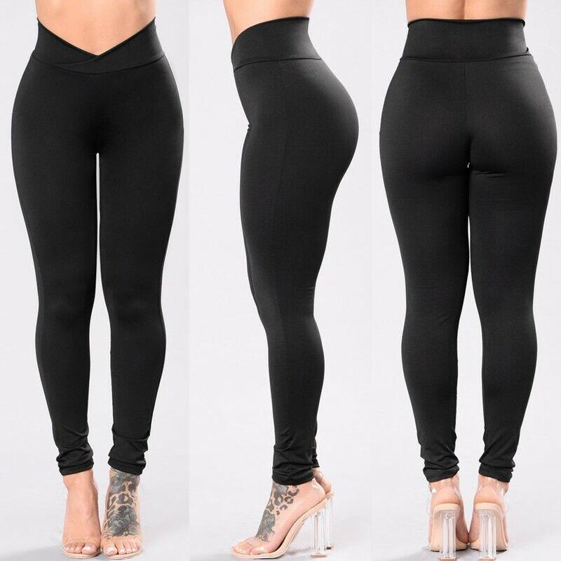 New Fashion Womens High Waist Elastic Leggings Fitness Workout Long Skinny Pants Trousers Casual Womens Black Leggings