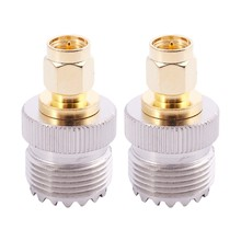 2x SMA Male to UHF Female SO239 SO-239 Jumper Plug RF Adapter Connect PL-259 Gold(China)