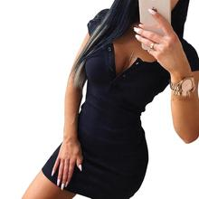 Yiwa Women Sexy Solid Color V Collar Chest Buttons Short Sleeve Bodycon Dress Breathable Wear Resistant Womens Clothing