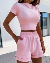 Vs & llwq 2 peça conjunto feminino verão o-pescoço casual colheita topo 2020 feminino roupas agasalho bolsos solto shorts de duas peças