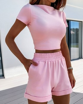 VS&LLWQ 2 Piece Set Women Summer O-Neck Casual Crop Top 2020 Female Clothing Tracksuit Pockets Loose Shorts Two Piece