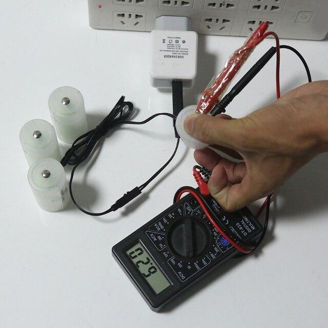 USB 1.5V 3V 4.5V 6V D Pin Loại Bỏ Cáp Thay Thế 1 4 Kích Thước D Cell Pin Cho Đồng Hồ Bộ Thu Âm Tại Đồ Chơi Đèn