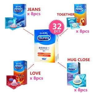 Durex 32 шт./упак. чувство ценности 4в1 ультра-тонкие презервативы со смазкой секс-игрушки презерватив для мужчин ванильный вкус