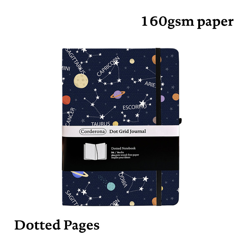 B6 Bullet Notebook 160g Dot Grid Journal Colorful Zodiac Hard Cover Elastic Band Thick Paper Travel Planner Dotted Diary Bujo