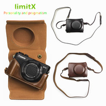 Luxo PU Couro Camera Bag case capa com alça aberta Projeto Da Bateria Para Canon Powershot G7X Mark II III G7XII câmera G7XIII