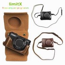 Étui de luxe en cuir PU pour appareil photo avec sangle conception de batterie ouverte pour Canon Powershot G7X Mark II III G7XII G7XIII appareil photo