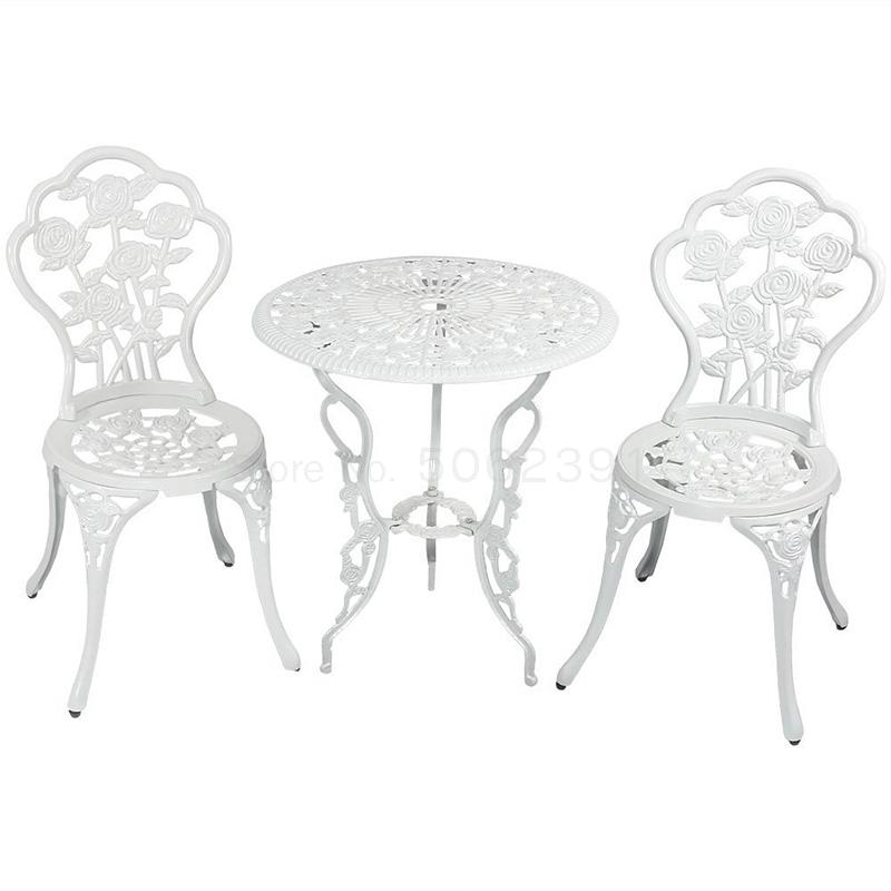 Cast aluminum balcony table and chair combination outdoor garden chair European outdoor terrace courtyard small coffee table