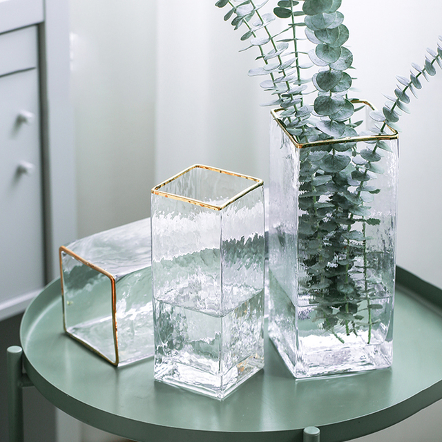 Modern Design Glass Vase Home Decoration Accessories Flower Vase With Golden Rim Desk Plants Cup Figurines Wholesale Ornaments 2