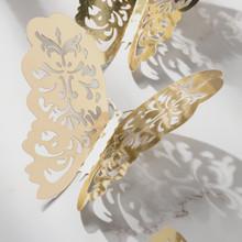 12 Pieces Of 3d Hollow Wall Stickers With Gold Butterfly Refrigerator Stickers For Home Decoration New Party Festival Celebratio tanie tanio ISHOWTIENDA CN (pochodzenie) 3d naklejki Nowoczesne Na ścianie Wielu kawałek pakiet Papier Zwierząt other organizers