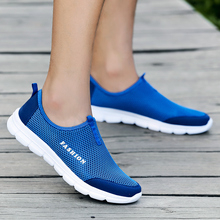 PUPUDA New Men Casual Shoes Mesh Breathable Running Sport Sneakers Comfy Slip On