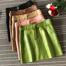 2019 Autumn women high quality real leather A-line Skirt Chic high-waist sheepskin Skirts A955