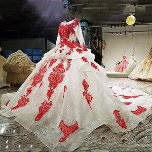Image 4 - LS67890 party jurken geborduurd met stenen rode applique kralen lange mouwen lange trein prom avondjurk china groothandel 2018