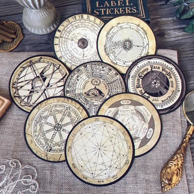 8Pcs/Pack Vintage Constellation Navy Compass Sticker DIY Craft Scrapbooking Album Junk Journal Planner Decorative Stickers