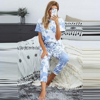 Loungewear Women Pajama Set Home Wear tie-dye Print Nightwear Sleepwear Fashion Spring Summer Short Sleeve Pyjamas Women shein tropical print satin pajama set casual sleep wear shorts sets short sleeve pocket women summer pajama set