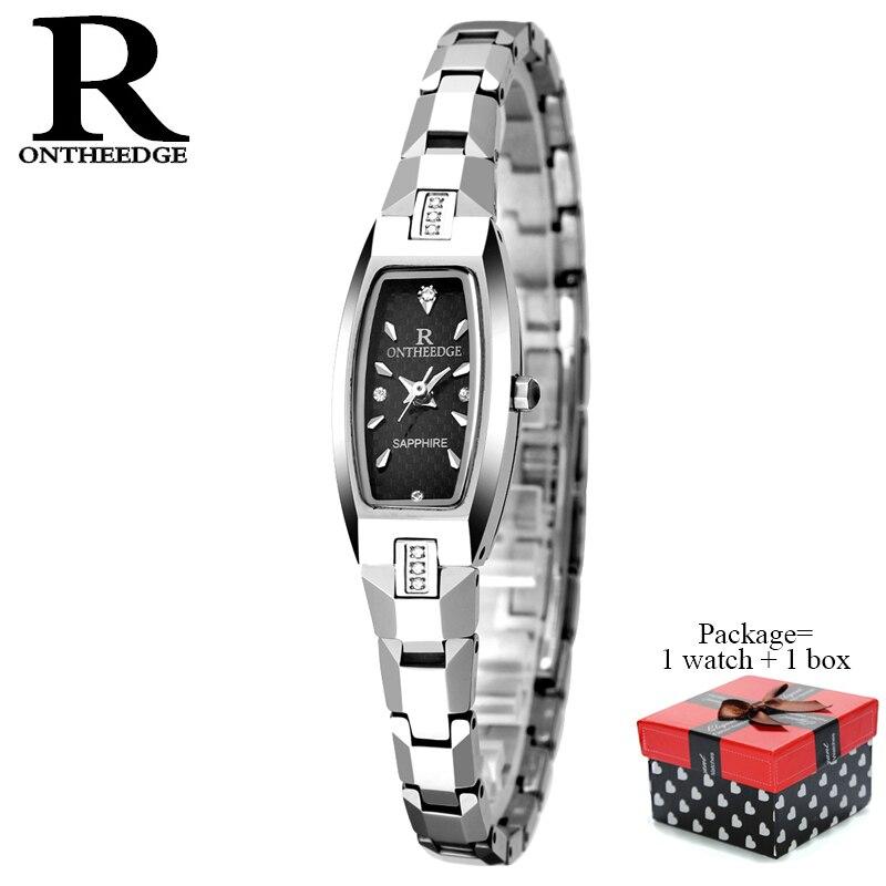 RONTHEEDGE luxe Quartz femmes montres en acier inoxydable femme montre-Bracelet strass dames montre Bracelet avec boîte-cadeau RZY009