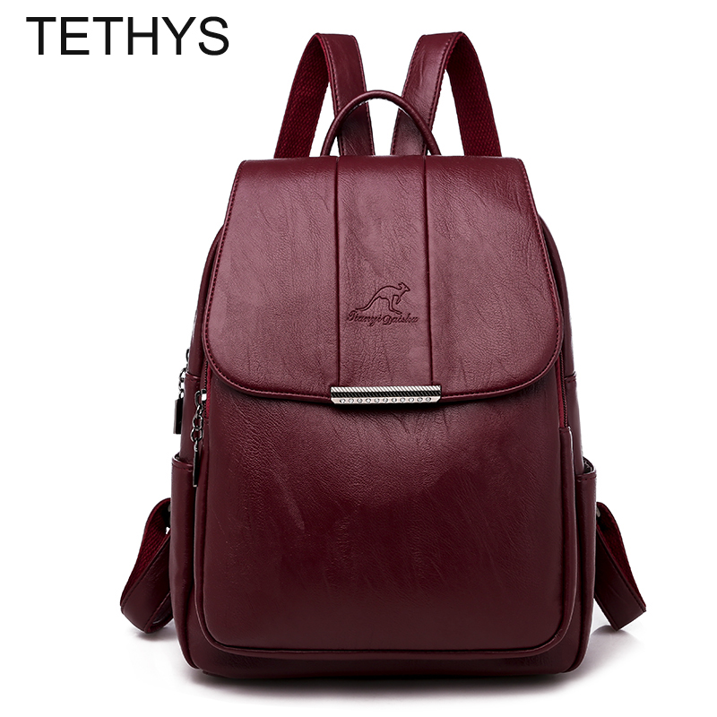 TETHYS Designer Backpacks Women High Quality Genuine Leather Backpack Bags For Women Causal Bagpack For Teeangers Mochila Mujer
