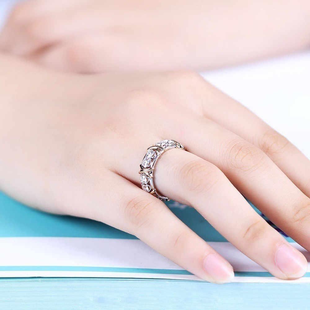 2019 فاخر حجر كريستال خواتم للنساء الشظية اللون الزفاف المشاركة موضة الشظية خاتم الاصبع انخفاض الشحن