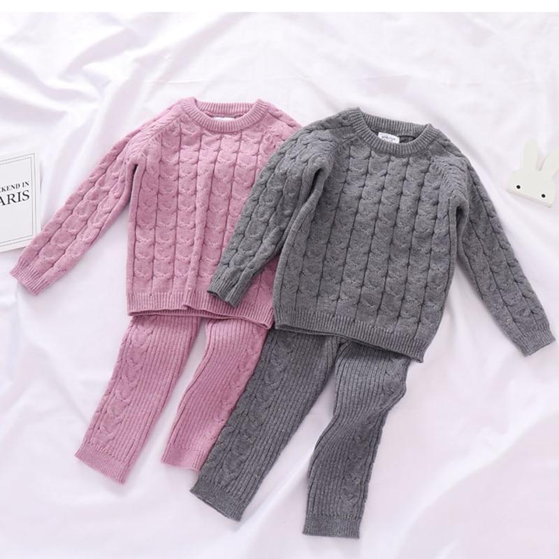 Autumn Toddler Boys Girls Clothing Set Sweater + Pants 2pcs/Suit Infant Boys Knit Suit Thick Warm Winter Baby Girls Boys Clothes