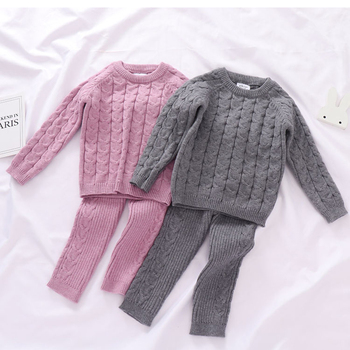Autumn Toddler Boys Girls Clothing Set Sweater + Pants 2pcs/Suit Infant Boys Knit Suit Thick Warm Winter Baby Girls Boys Clothes 1