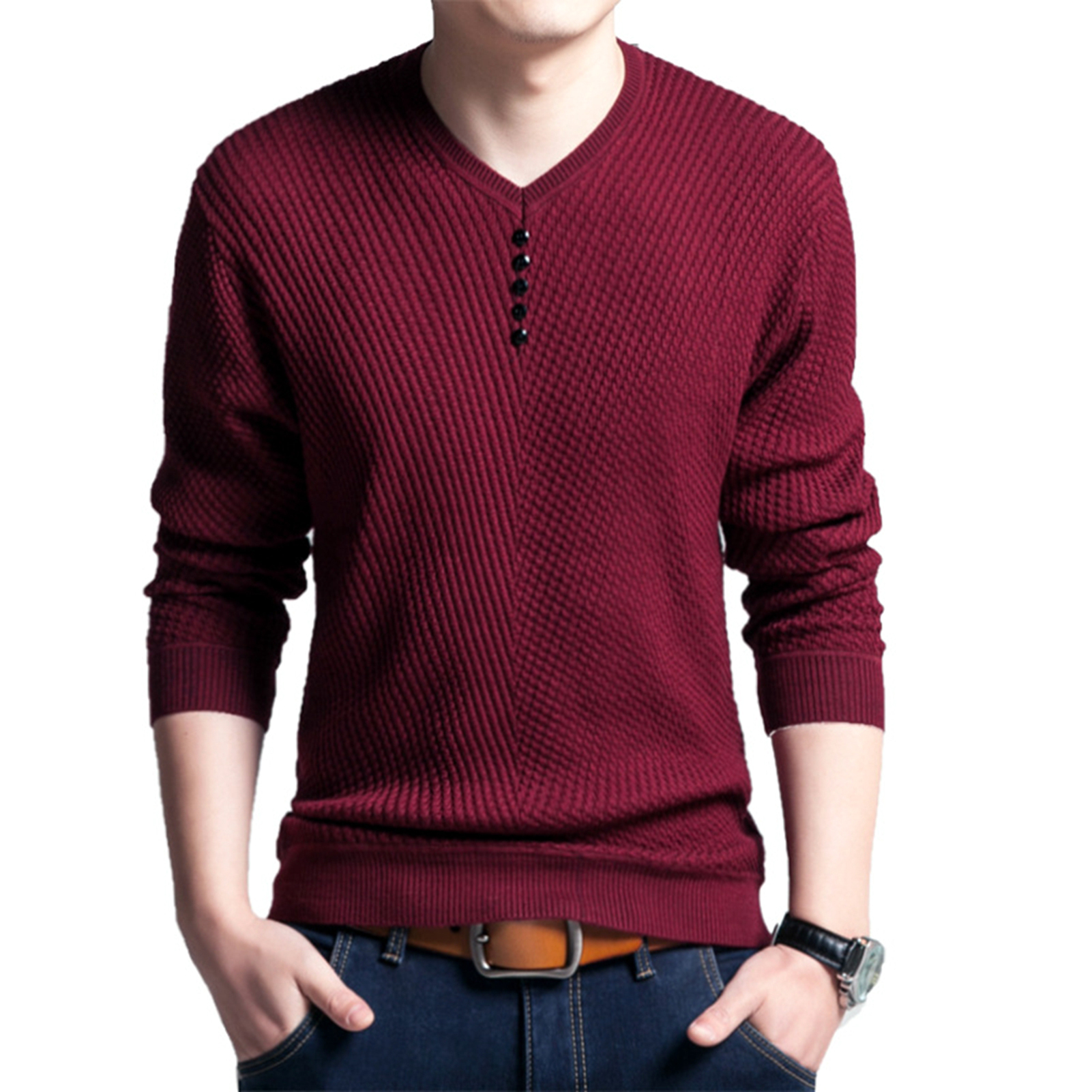 Men Long Sleeve Solid Color Buttons Decor Knitwear Plus Size Bottoming Sweater Men's Knitted Sweaters Pullover Men Knitwear 2020 5