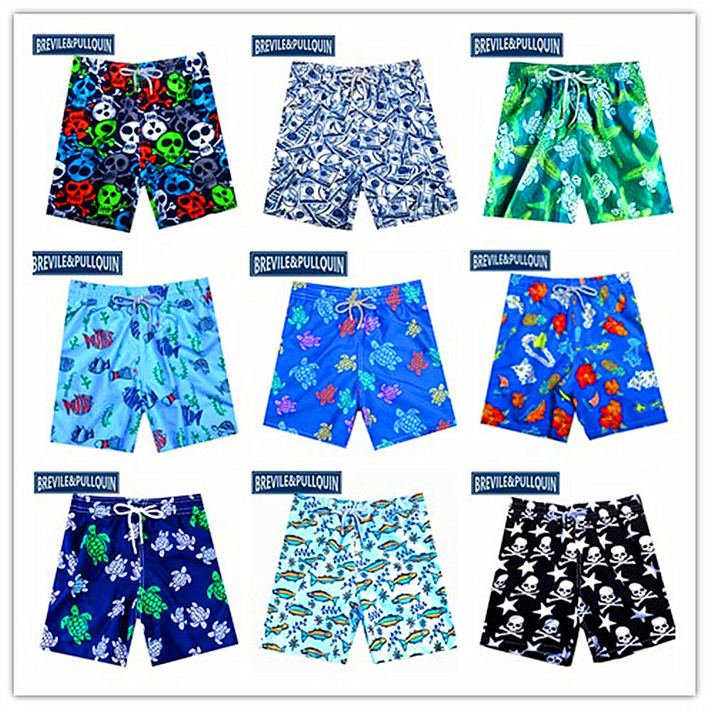 Polyester Swordfish Pattern Board Shorts with Pockets Mens Quick Dry Beach Shorts