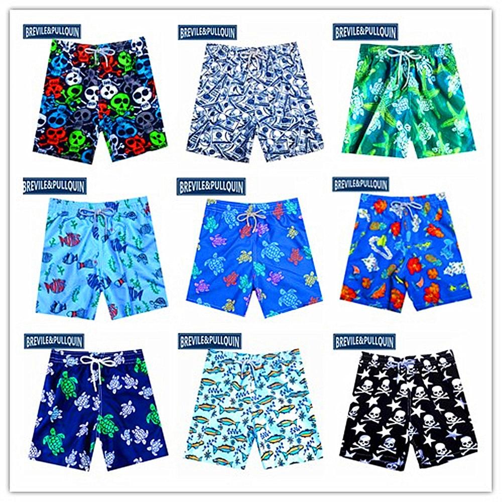 2020 New Arrivals Famous Brand Brevile Pullquin Beach Board Shorts Men Turtles Swimwear Flowers Skull Swordfish Men's Boardshort